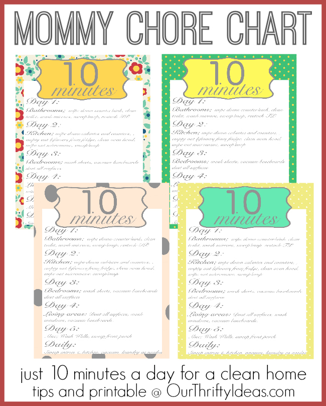 Mom\u0027s Chore Chart - A clean home in just 10 minutes a day - Our