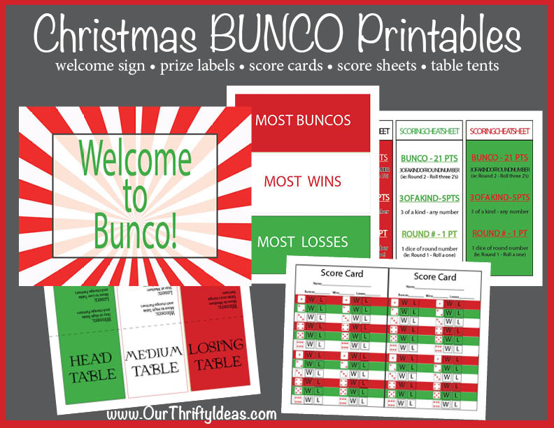 Christmas BUNCO Printable Kit - Our Thrifty Ideas - bunco score sheets template