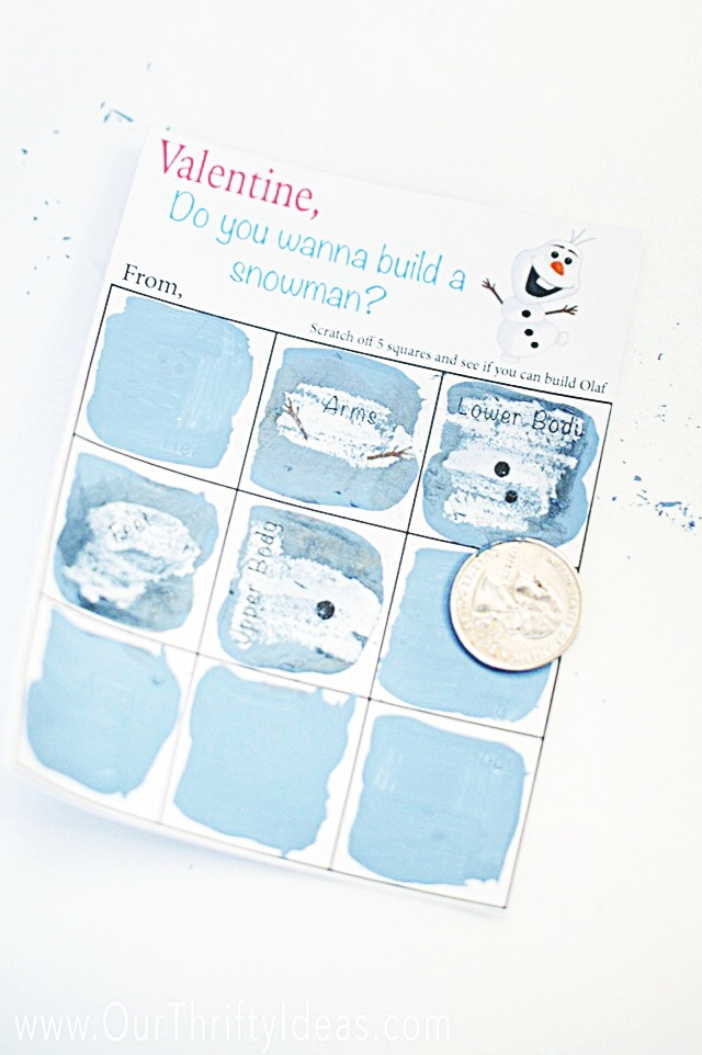 Do You Want To Build A Snowman - DIY Scratch Off Valentine - Our