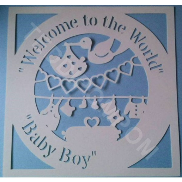 Welcome to the World Baby Boy Birth Announcement Papercut, SVG