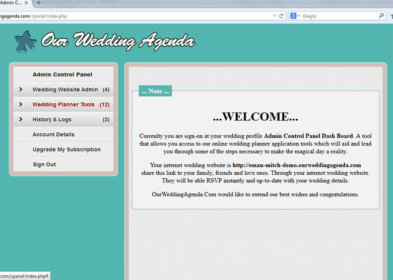 Our Wedding Agenda -Wedding Website