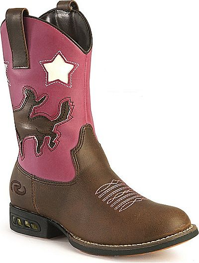 Children39s Pink Brown Light Up Cowboy Boots Outback