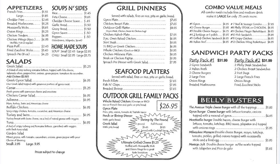 Outdoor Grill Chicago Greek Restaurant DiningTo Go Menu