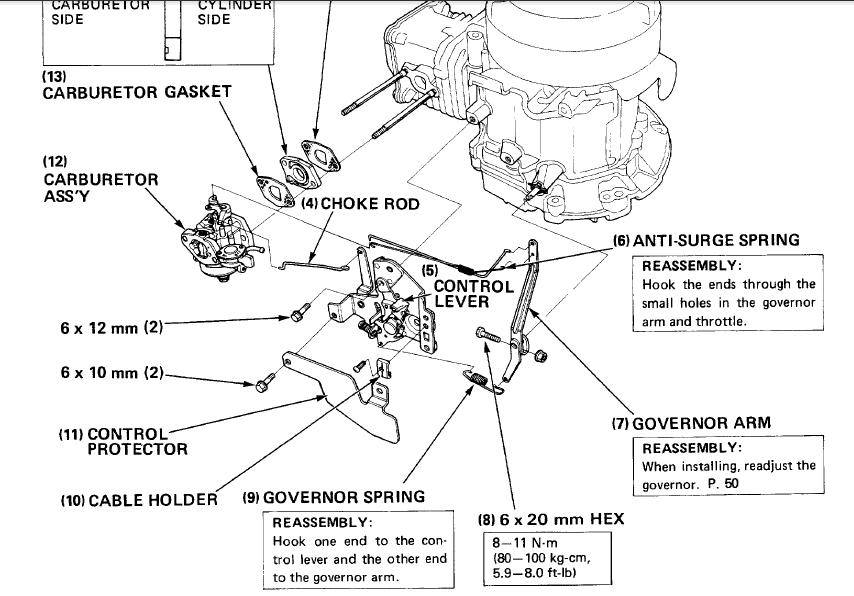 honda gx390 engine parts diagram linkages