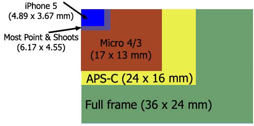 Is Full-Frame Worth It? Chart showing sizes of different digital sensors