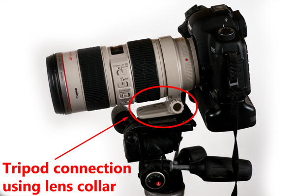 Tripod attachment using lens collar