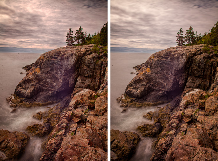 Comparison of processing of bracketed photos