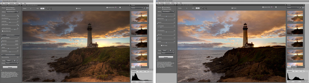 Photomatix Pro comparison of processing screens for Tone Mapping and Exposure Fusion