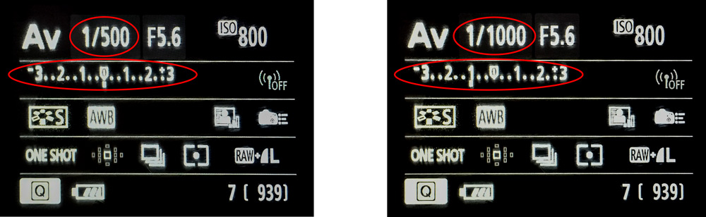Exposure compensation graphic