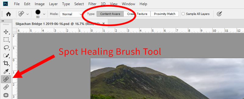Spot healing brush graphic