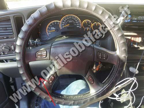 OBD2 connector location in Chevrolet Silverado Sierra (1999 - 2006