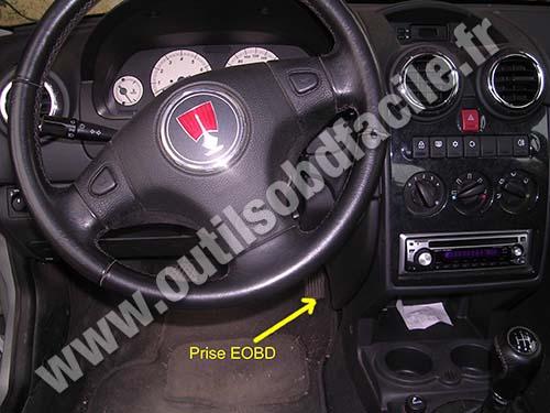OBD2 connector location in Rover 25 (1999-2005) - Outils OBD Facile