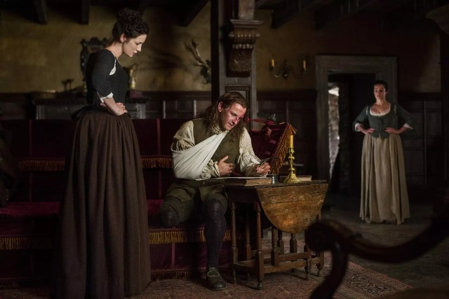 Caitriona Balfe (Claire Randall Fraser), Steven Cree (Ian Murray), and Laura Donnelly (Jenny Fraser Murray)