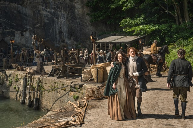 Claire Randall Fraser and Jamie Fraser (Caitriona Balfe and Sam Heughan)