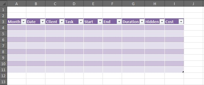 How to create a working timesheet in Excel - Part 2 - OutofhoursAdmin