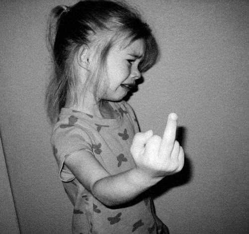 black-white-little-girl-crying-middle-finger