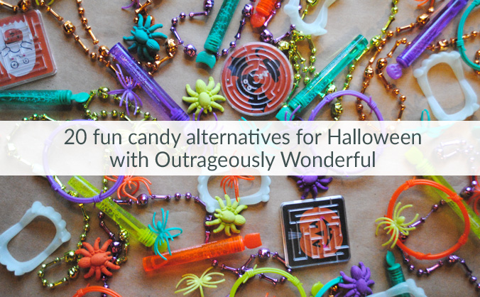 20 fun candy alternatives for Halloween with Outrageously Wonderful Whether you are seeking candy alternatives for Halloween because of a food allergy, health reasons or simply personal preference, there are tons of great options out there.
