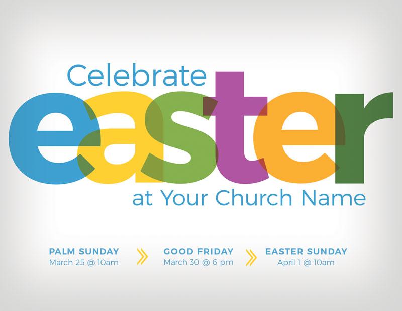 Color Bold Easter InviteCard - Church Invitations - Outreach Marketing