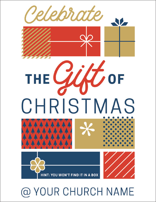 Stamped Christmas InviteCard - Church Invitations - Outreach Marketing