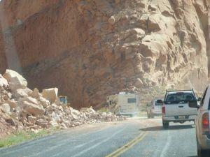 Going Around The Rock Slide