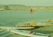 Early days windsurfing at Wadi Darbat, Dhofar, Sultanate of Oman