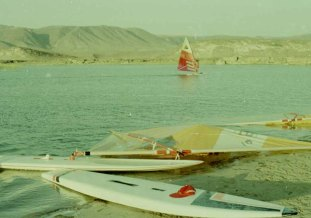 Early days windsurfing at Wadi Darbat, Dhofar, Sultanate of Oman