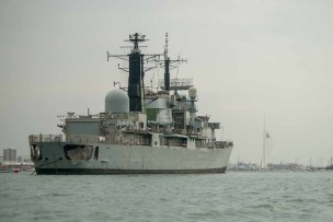 HMS Liverpool waiting disposal in Portsmouth Harbour