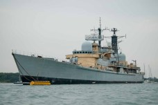 HMS Manchester waiting disposal, moored off Hardway, Portsmouth Harbour