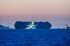 Car carrier Hoegh Osaka near Cowes after drifting off of the Bramble Bank