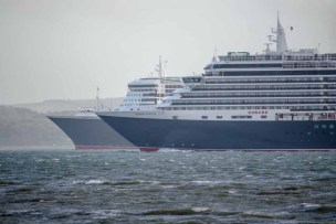 Queen Victoria and Queen Mary 2 in the Solent