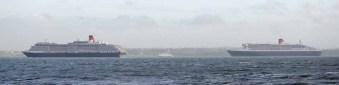 P & O Cunard Queens in the Solent
