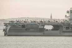 USS Theodore Roosevelt arriving in the Solent. Ryde on the Isle of Wight is in the background. March 2015