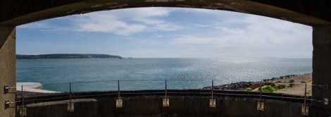 Panoramic view from Hurst Castle towards The Needles and the entrance to the Solent