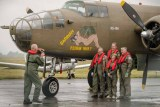 Crew of the B25 Mitchell 'Sarinah' taking a shot for the album at Solent Airport, Daedalus while stopping over due to bad weather