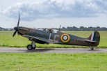 Spitfire R9632 taxiing at the former HMS Daedalus airfield. Spitfires and a Messerschmitt Bf 109 have been flying from Daedalus for the Warner Brothers film Dunkirk