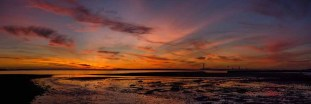 Panorama of an amazing sunset over the Solent taken from Hill Head