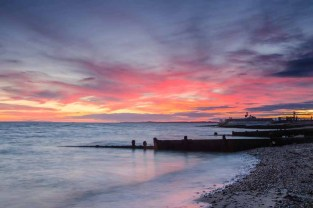 Wintery sunset from HHSC spit looking towards Lepe Country Park and Calshot