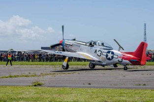 """D Day 75 Daedalus. """"Tall in The Saddle"""" P-51 Mustang at Solent Airport Daedalus to mark the 75 anniversary of the D-Day landings by allied forces in Normandy 1944"""