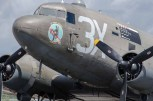 """D Day 75 Daedalus. Douglas Dakota """"Drag 'em Oot"""" at Solent Airport Daedalus to mark the 75 anniversary of the D-Day landings by allied forces in Normandy 1944"""