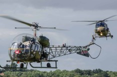 D Day 75 Daedalus. Agusta Bell Sioux AH Mk1 and Westland Scout AH Mk1 at Solent Airport Daedalus to mark the 75th anniversary of the D-Day landings by allied forces in Normandy 1944. © out to grass photography