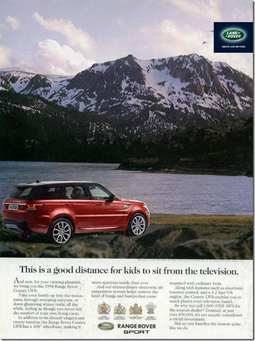 The 2014 Range Rover Sport gets a retro ad too. #