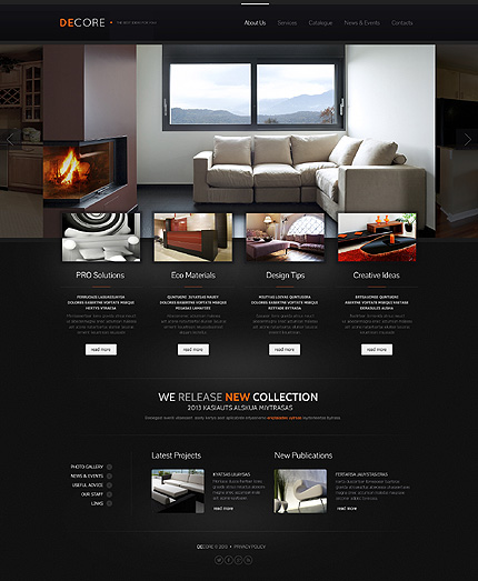 Black Interior Design Website Template by Delta - Bootstrap - interior design web template