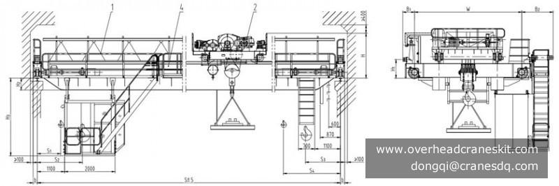 Dongqi QC Model Double Girder Overhead Bridge Magnetic Crane with