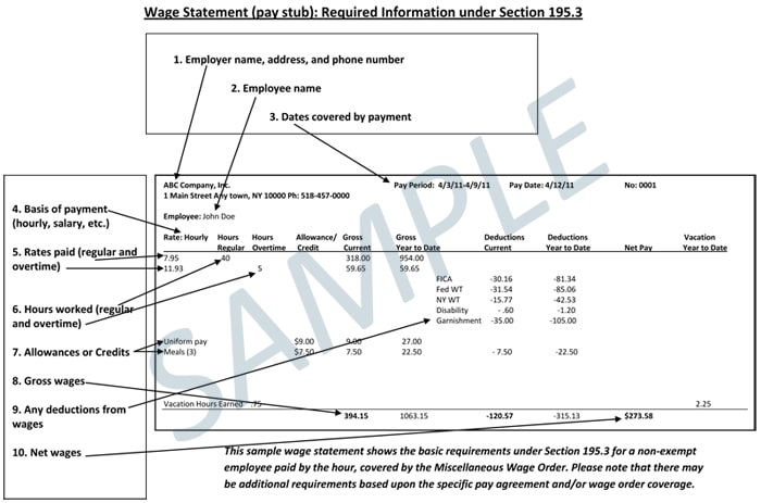 NY Pay Stub Law Requires Workers Be Given Specific Information\u2026and - Sample Paycheck Stubs
