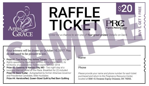 Raffle Tickets being Sold for Pregnancy Resource Center\u0027s Arms of - raffle ticket prizes