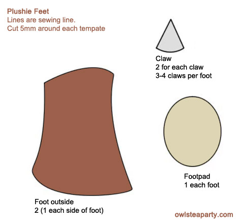 Generic plushie feet template