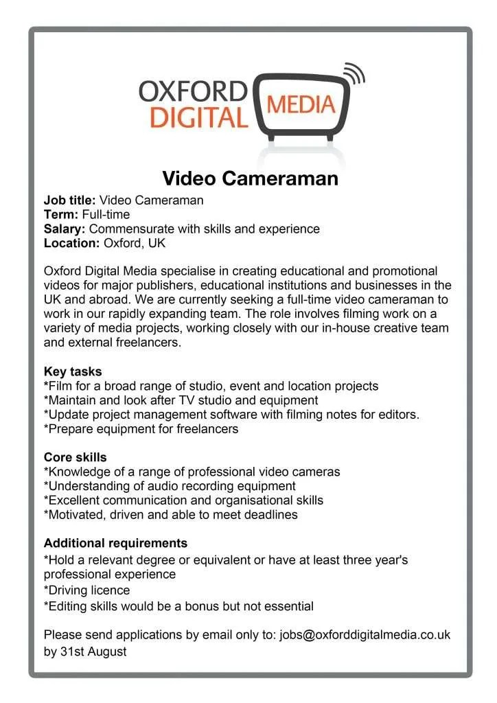 Video editor or cameraman? We\u0027re recruiting! Oxford Video