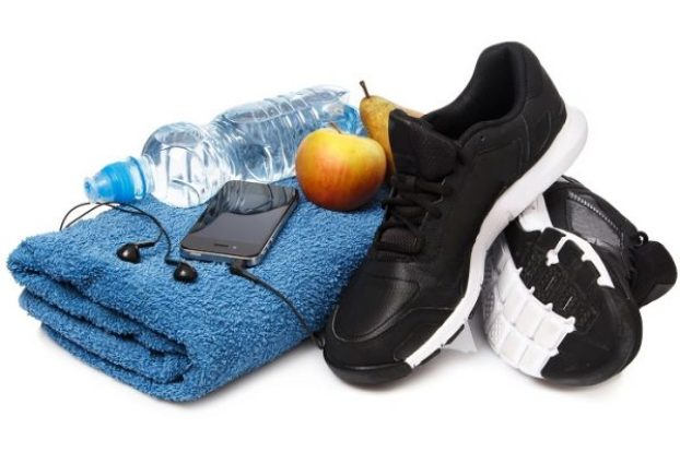 Different items for fitness workout on white background