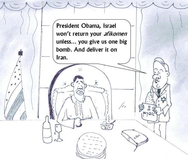 Israel steals Obama's afikoman and demands a bomb on Iran as an afikoman gift