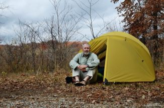 Gary with our Mutha Hubba tent, Bucksaw, Harry S Truman Lake